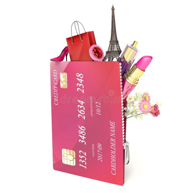 ben för bakgrundspåsebegrepp som shoppar den vita kvinnan kreditkort- och kvinnors tillbehör vektor illustrationer