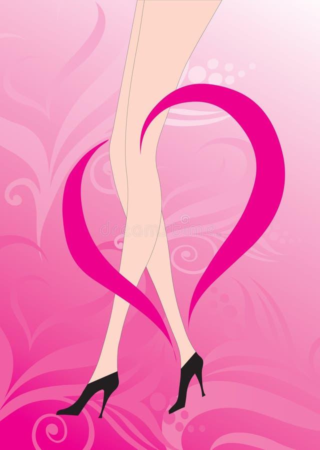ben för kvinnlighjärtaillustration royaltyfri illustrationer
