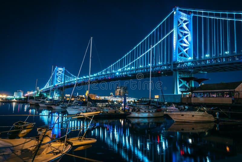 Ben Franklin Bridge Philadelphia Pennsylvania la nuit photographie stock libre de droits