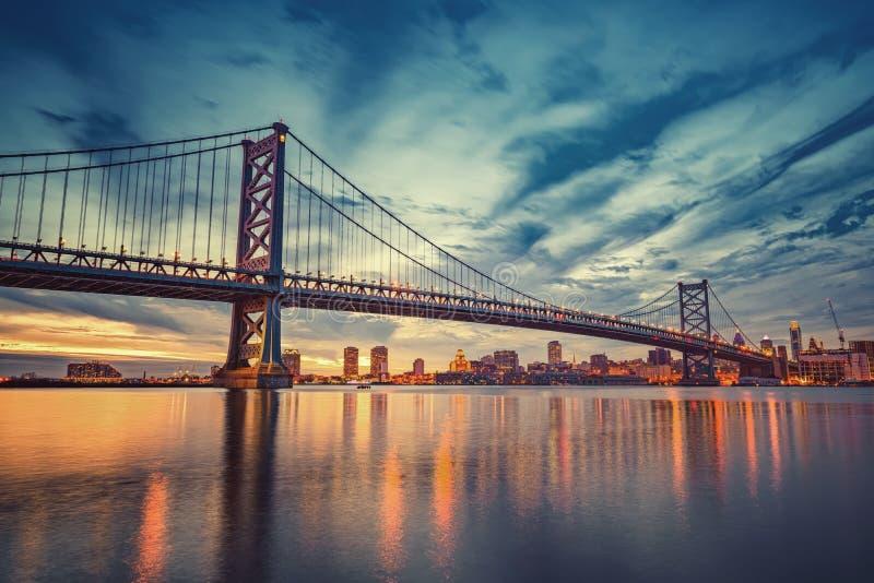 Ben Franklin-brug in Philadelphia stock foto