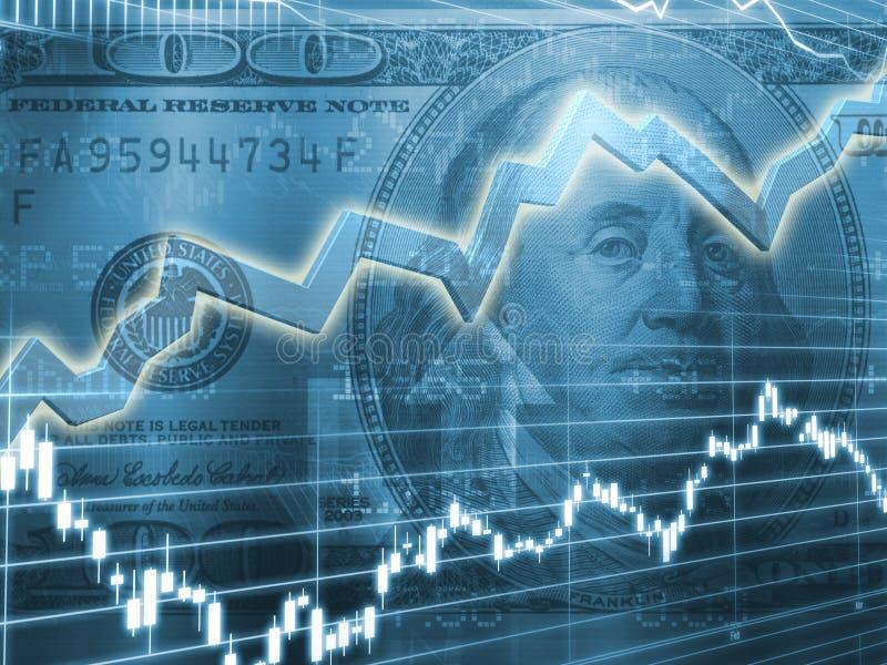 Ben Franklin com gráfico do mercado de valores de acção