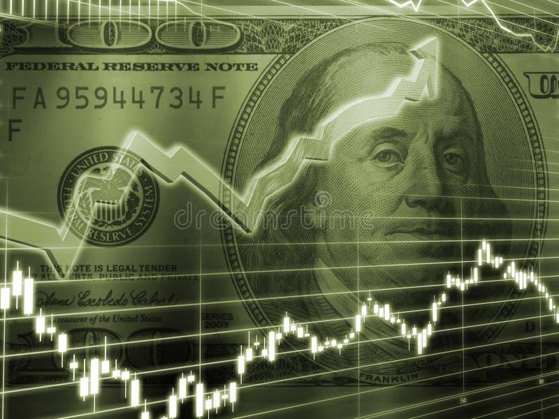 Ben Franklin con il grafico del mercato azionario illustrazione di stock
