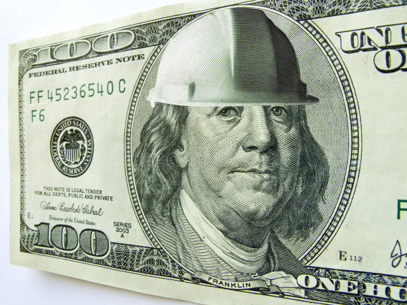 Download Ben Franklin One Hundred Dollar Bill Wearing Const Stock Image - Image of hardhat, american: 32699667