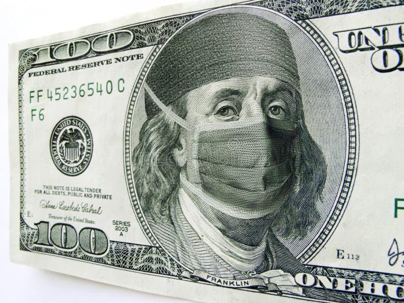 Ben Franklin Wearing Healthcare Mask auf hundert Dollarschein lizenzfreies stockfoto