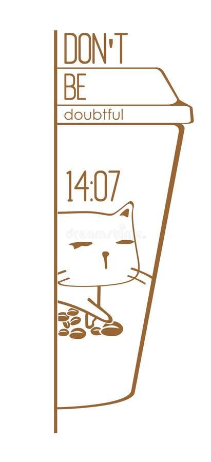 Ben geen Twijfelachtige Cat Coffee Vector stock afbeeldingen