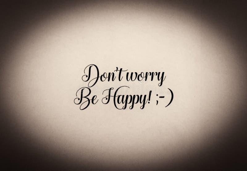 Ben gelukkige die uitdrukking in zwart-wit wordt geschreven stock foto