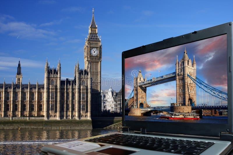 Ben grande com ponte da torre, Londres fotografia de stock