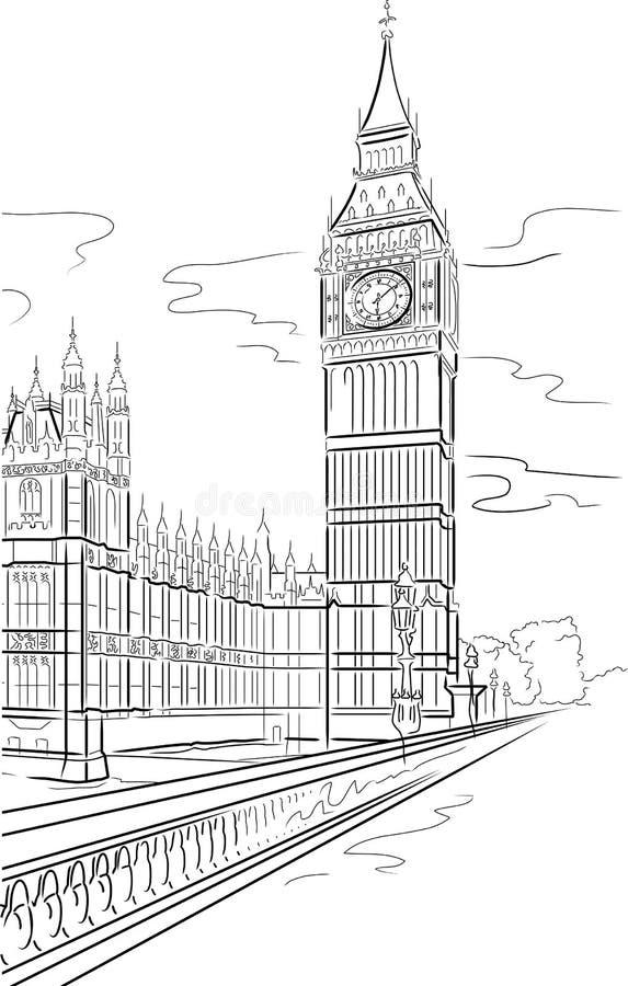Ben grande da torre em Londres ilustração stock