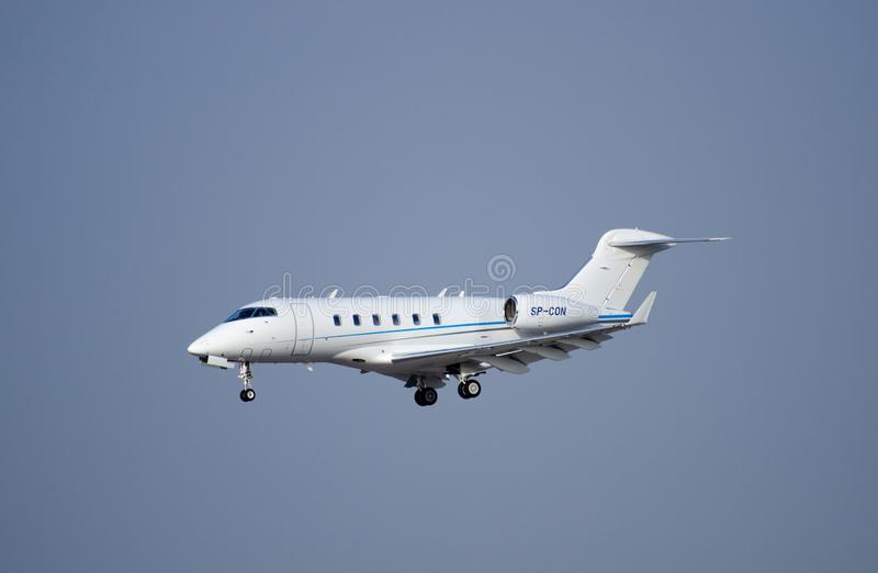 The Bombardier Challenger 300 airplane arriving to Ben-Gurion royalty free stock photo