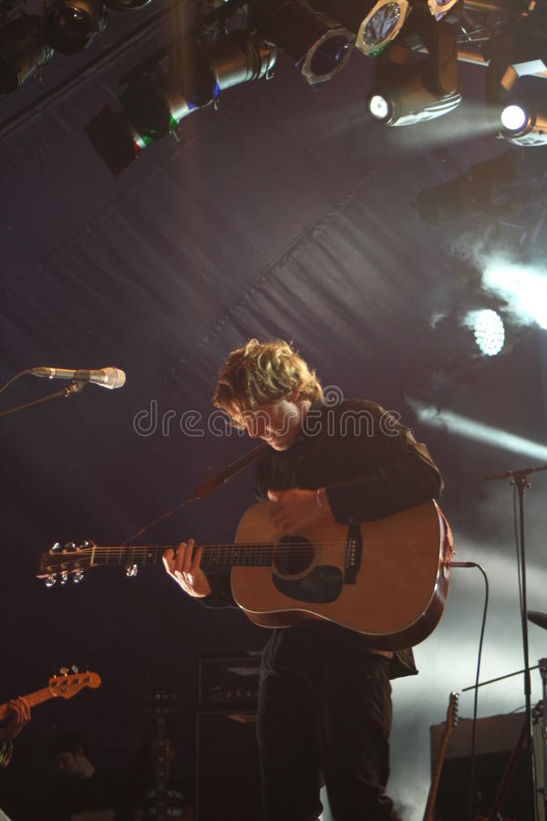 Ben Howard performing at Somersault Festival 2014. Ben Howard performing live on the main stage at first ever Somersault Festival at Castle Hill in North Devon stock photography