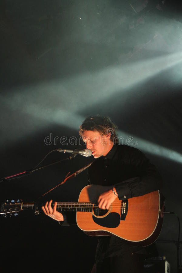 Ben Howard performing at Somersault Festival 2014. Ben Howard performing live on the main stage at first ever Somersault Festival at Castle Hill in North Devon stock photos
