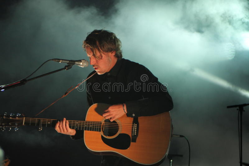 Ben Howard performing at Somersault Festival 2014. Ben Howard performing live on the main stage at first ever Somersault Festival at Castle Hill in North Devon royalty free stock image