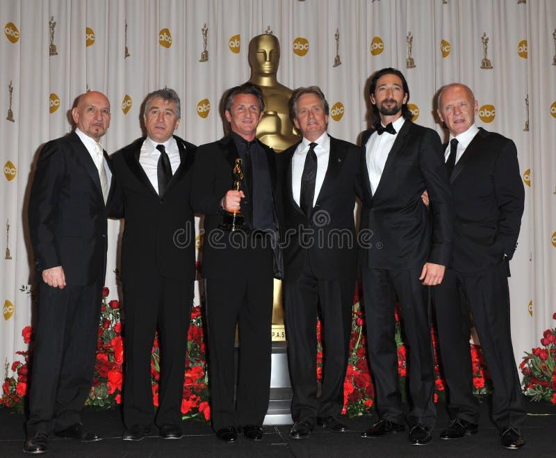 Ben Kingsley, Anthony Hopkins, Adrien Brody, Michael Douglas, Robert De Niro, Sean Penn imagem de stock