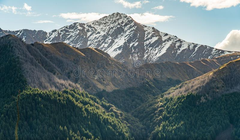 Landscape of Ben Lomond 1,748 metres summit view from Queenstown hill, New Zealand. Ben Lomond 1,748 metres the highest mountains in Queenstown of Otago region stock photography