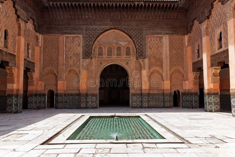 ben madrasa Marrakech Morocco Youssef zdjęcie royalty free