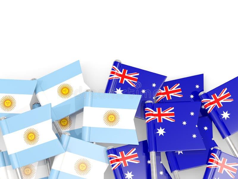 Ben med flaggor av Argentina och Australien som isoleras på vit vektor illustrationer