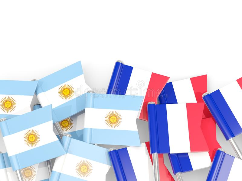 Ben med flaggor av Argentina och Frankrike som isoleras på vit royaltyfri illustrationer