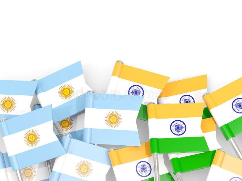 Ben med flaggor av Argentina och Indien som isoleras på vit royaltyfri illustrationer