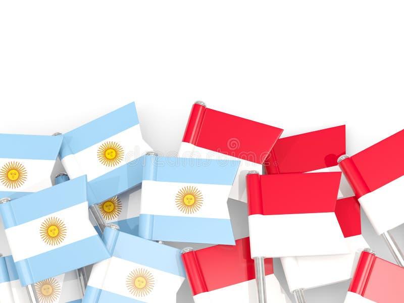 Ben med flaggor av Argentina och indonesia som isoleras på vit vektor illustrationer