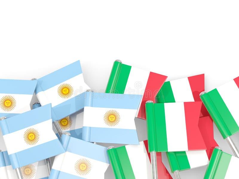 Ben med flaggor av Argentina och Italien som isoleras på vit stock illustrationer