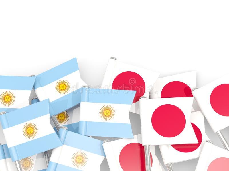 Ben med flaggor av Argentina och Japan som isoleras på vit vektor illustrationer