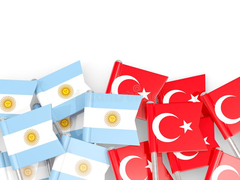 Ben med flaggor av Argentina och kalkon som isoleras på vit vektor illustrationer