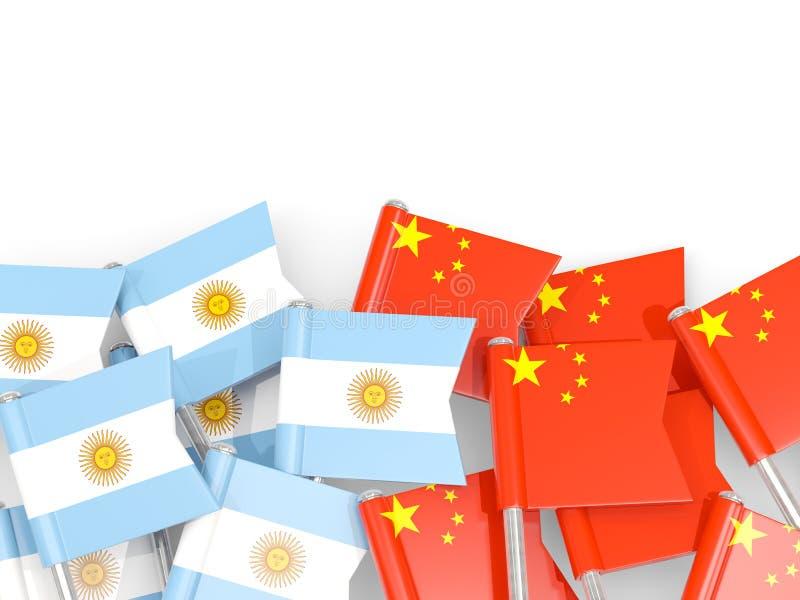 Ben med flaggor av Argentina och porslinet som isoleras på vit vektor illustrationer
