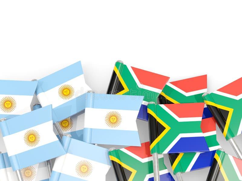 Ben med flaggor av Argentina och Sydafrika som isoleras på vit royaltyfri illustrationer