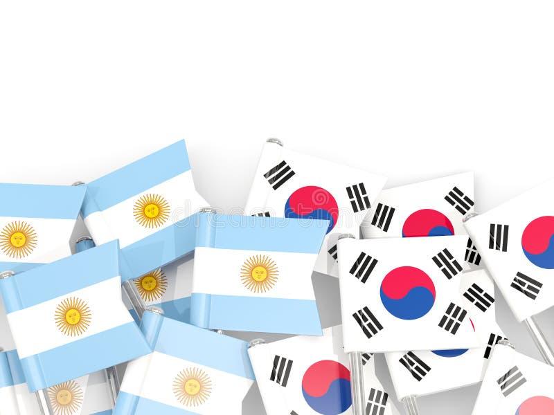 Ben med flaggor av Argentina och Sydkorean som isoleras på vit royaltyfri illustrationer