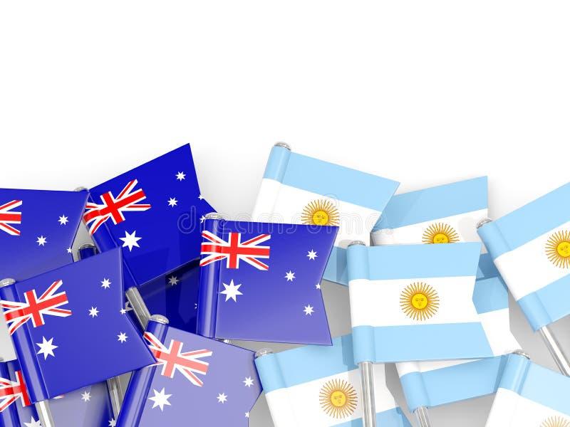 Ben med flaggor av Australien och Argentina som isoleras på vit stock illustrationer
