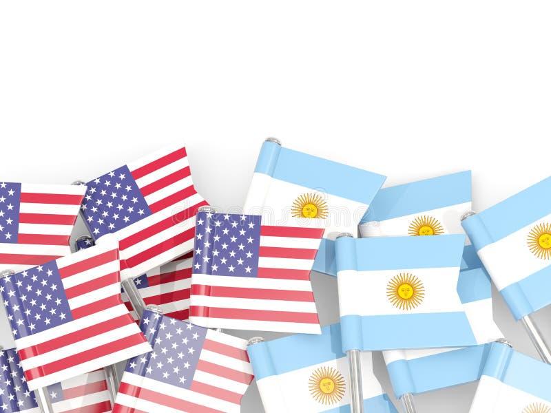 Ben med flaggor av Förenta staterna och Argentina som isoleras på vit stock illustrationer