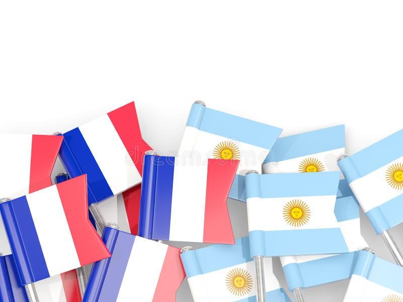 Ben med flaggor av Frankrike och Argentina som isoleras på vit royaltyfri illustrationer
