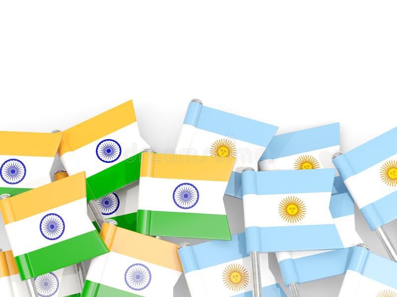 Ben med flaggor av Indien och Argentina som isoleras på vit royaltyfri illustrationer