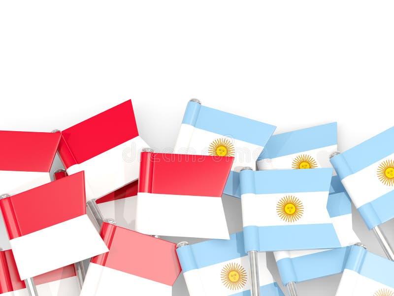 Ben med flaggor av Indonesien och Argentina som isoleras på vit vektor illustrationer