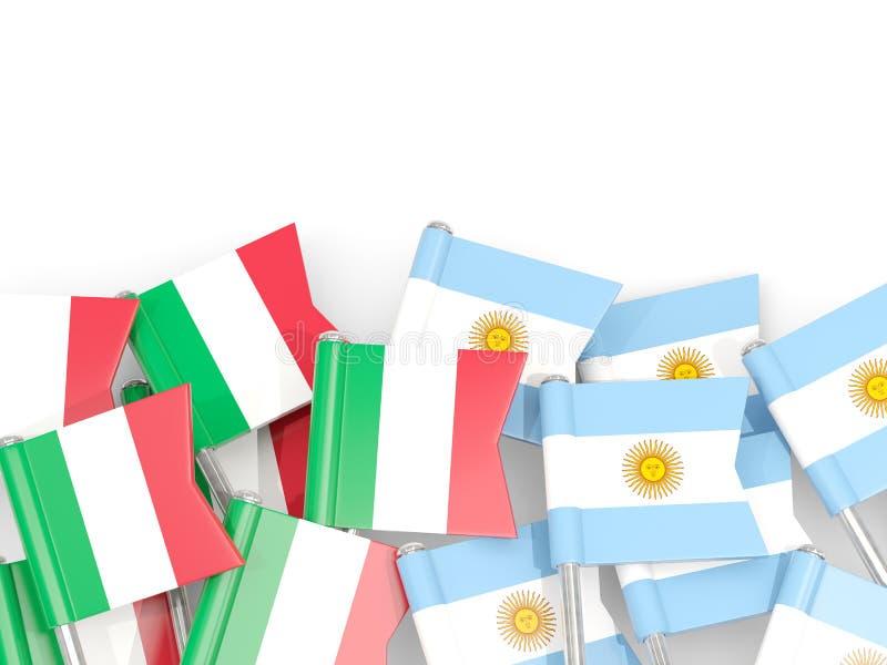 Ben med flaggor av Italien och Argentina som isoleras på vit royaltyfri illustrationer