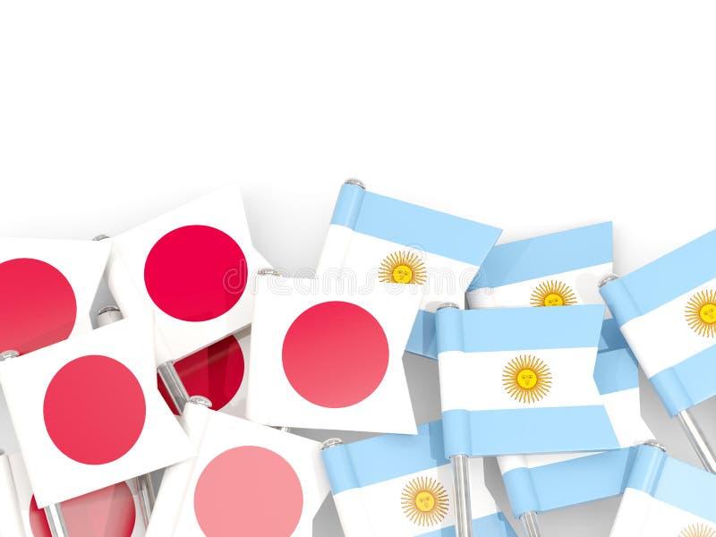 Ben med flaggor av Japan och Argentina som isoleras p? vit stock illustrationer
