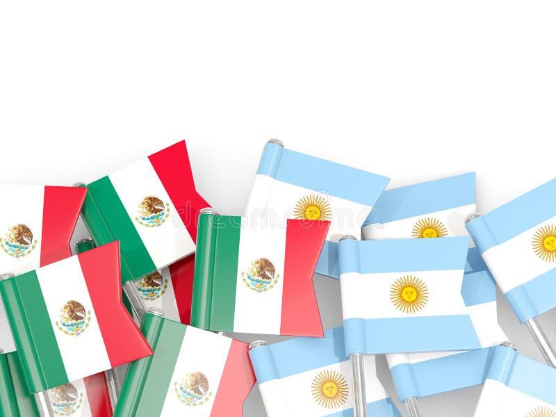 Ben med flaggor av Mexico och Argentina som isoleras p? vit stock illustrationer