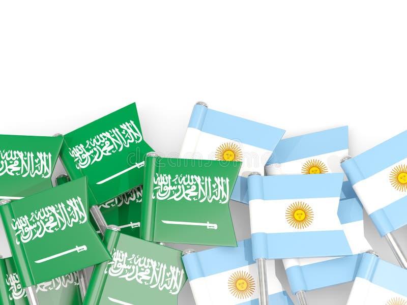 Ben med flaggor av Saudiarabien och Argentina som isoleras p? vit stock illustrationer