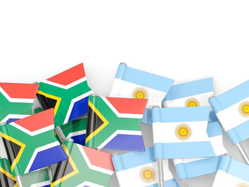 Ben med flaggor av Sydafrika och Argentina som isoleras p? vit stock illustrationer