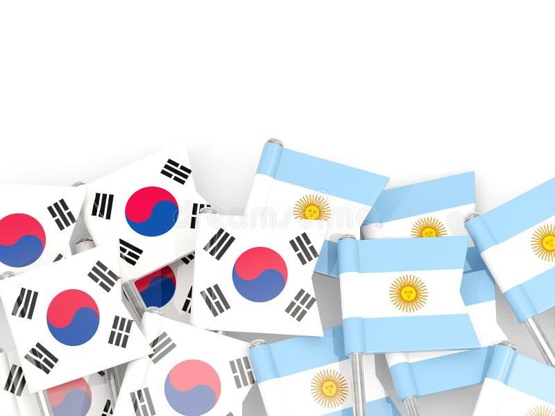Ben med flaggor av Sydkorea och Argentina som isoleras p? vit royaltyfri illustrationer