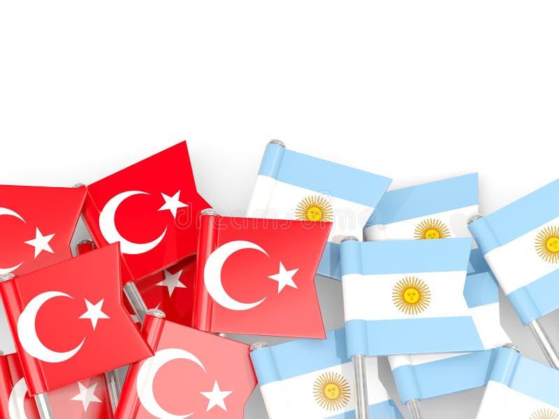 Ben med flaggor av Turkiet och Argentina som isoleras p? vit stock illustrationer