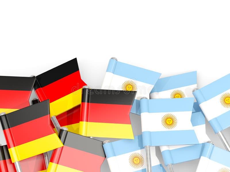 Ben med flaggor av Tyskland och Argentina som isoleras på vit royaltyfri illustrationer