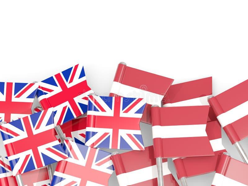 Ben med flaggor av UK och Lettland som isoleras p? vit royaltyfri illustrationer