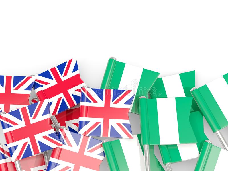Ben med flaggor av UK och Nigeria som isoleras p? vit stock illustrationer