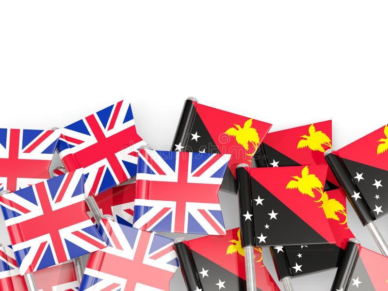 Ben med flaggor av UK och Papua Nya Guinea som isoleras p? vit vektor illustrationer