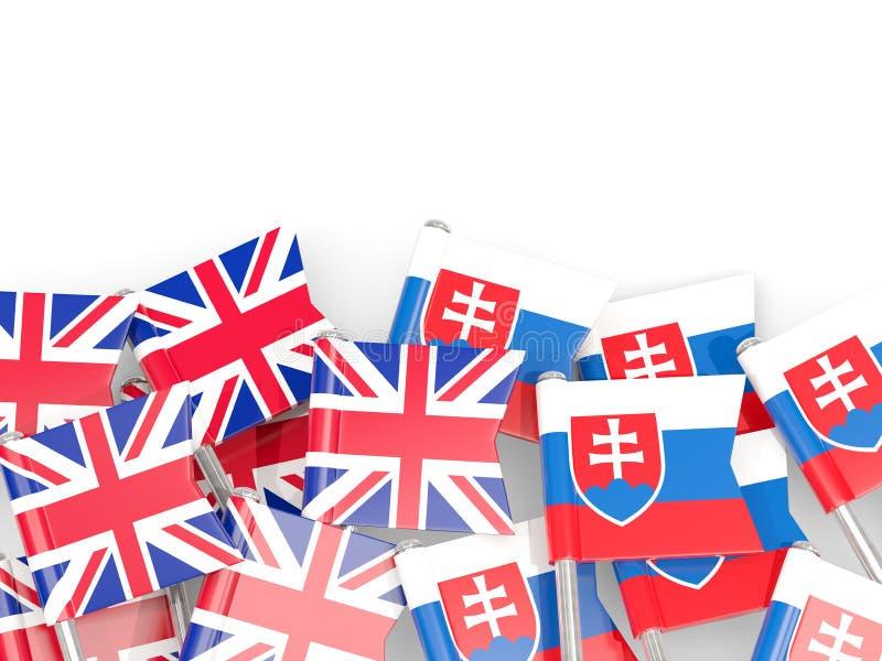 Ben med flaggor av UK och Slovakien som isoleras p? vit vektor illustrationer