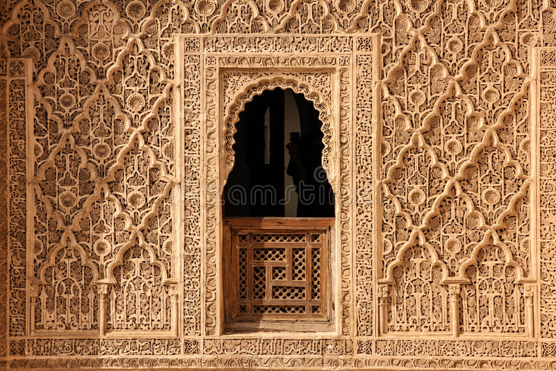 ben medersa Youssef λεπτομέρεια Μαρακές Μαρόκο στοκ εικόνες