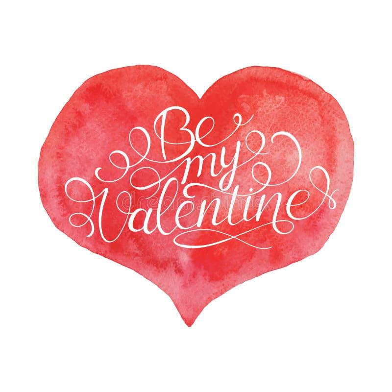 Ben mijn Valentijnskaart Hand Van letters voorzien Citaat op Rood Hart royalty-vrije illustratie