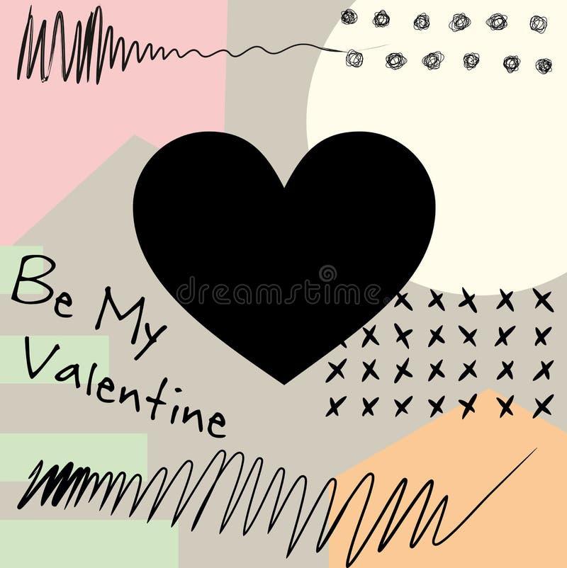 Ben mijn Valentijnskaart Modern, met een abstract patroon royalty-vrije illustratie