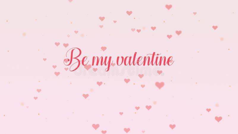 Ben mijn Valentine Love-bekentenis De Dag van Valentine het van letters voorzien is ge?soleerd op lichtrose achtergrond, die bede vector illustratie